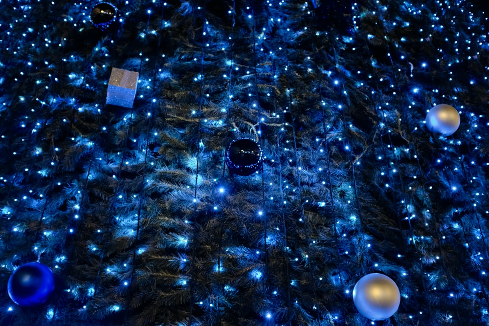blue and white christmas tree with blue string lights