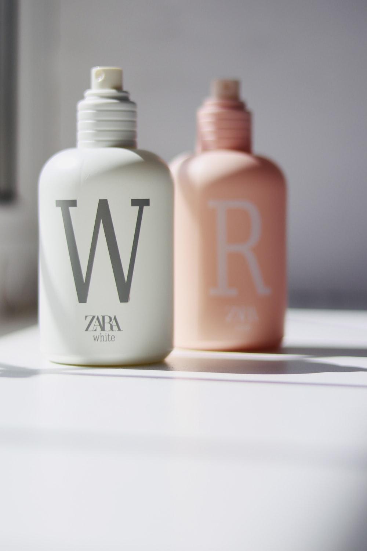 white and pink calvin klein bottle