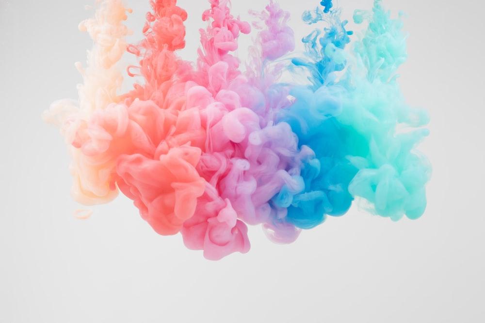 pink and blue smoke illustration