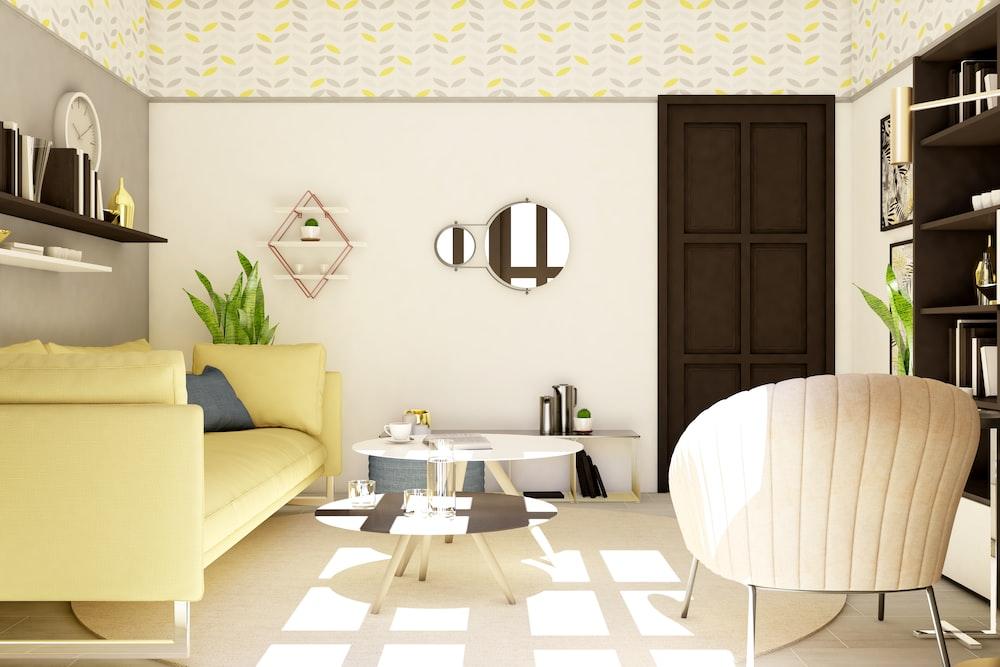 white sofa near brown wooden door