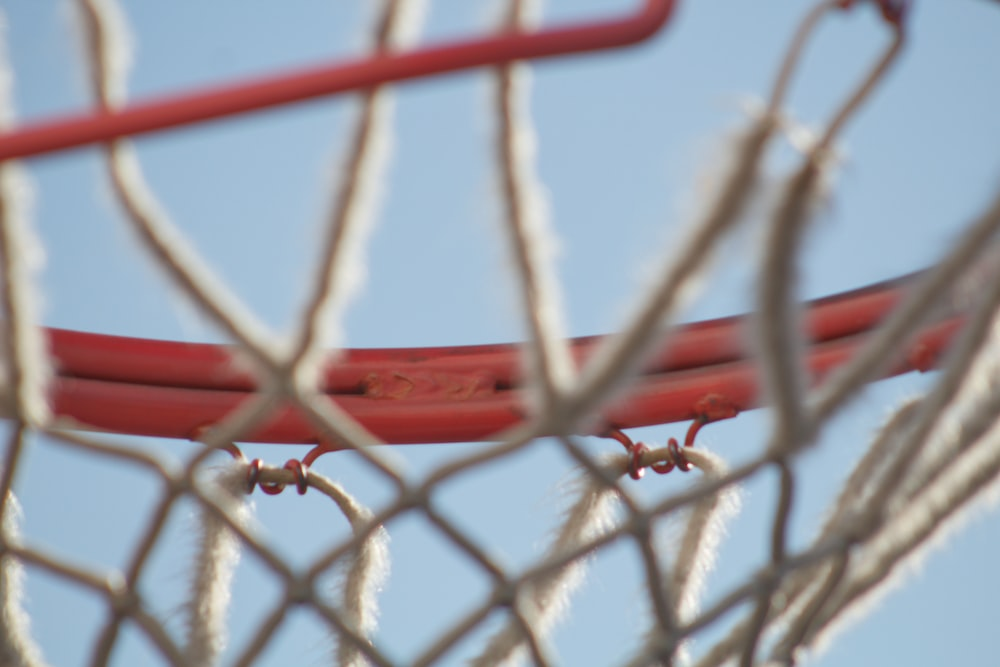 red metal chain link fence