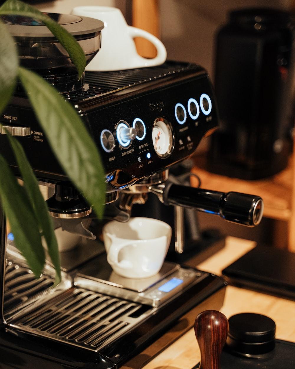 black and silver espresso machine