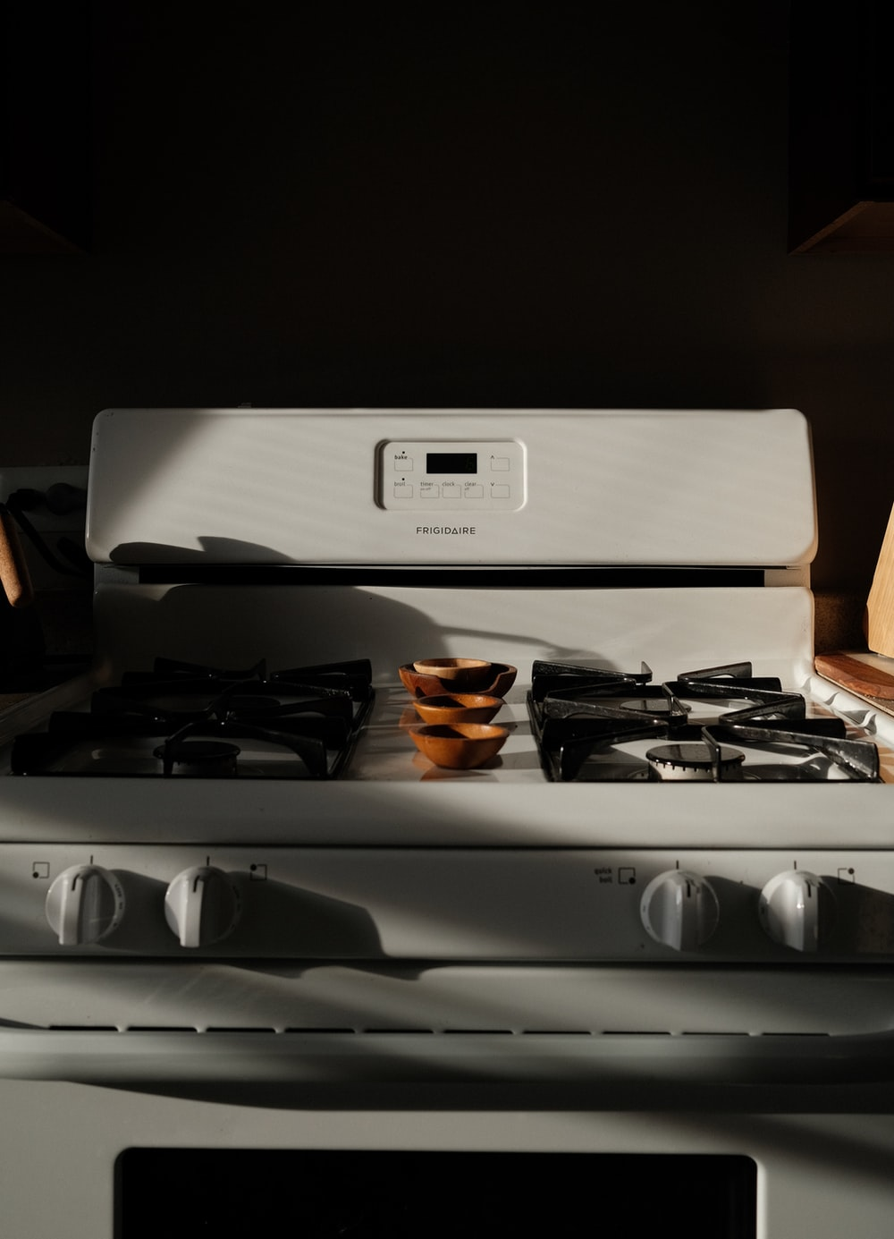 white and black gas stove