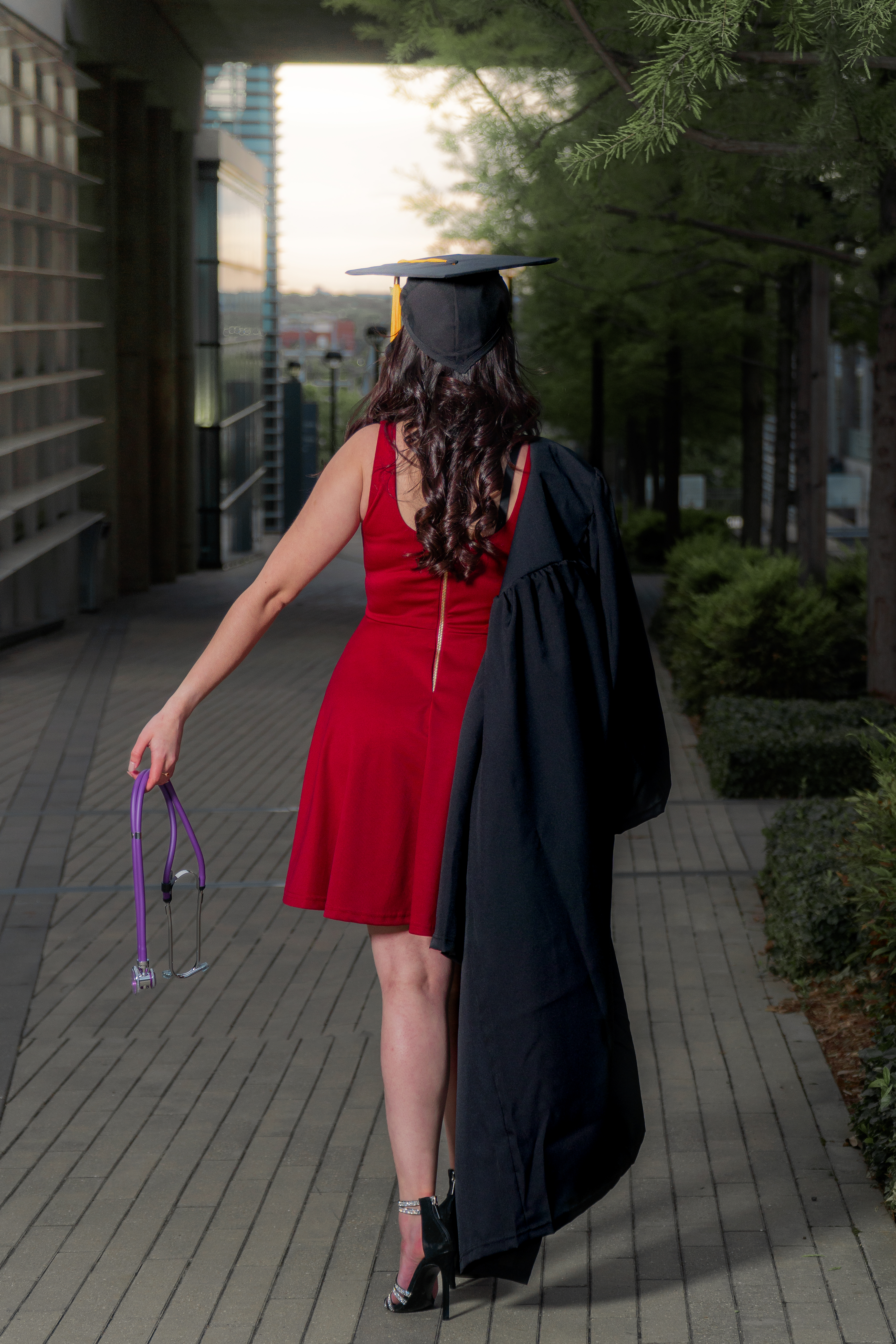 A photo of a nursing student at her graduation ceremony