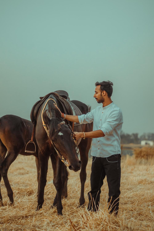 man in blue dress shirt riding brown horse during daytime