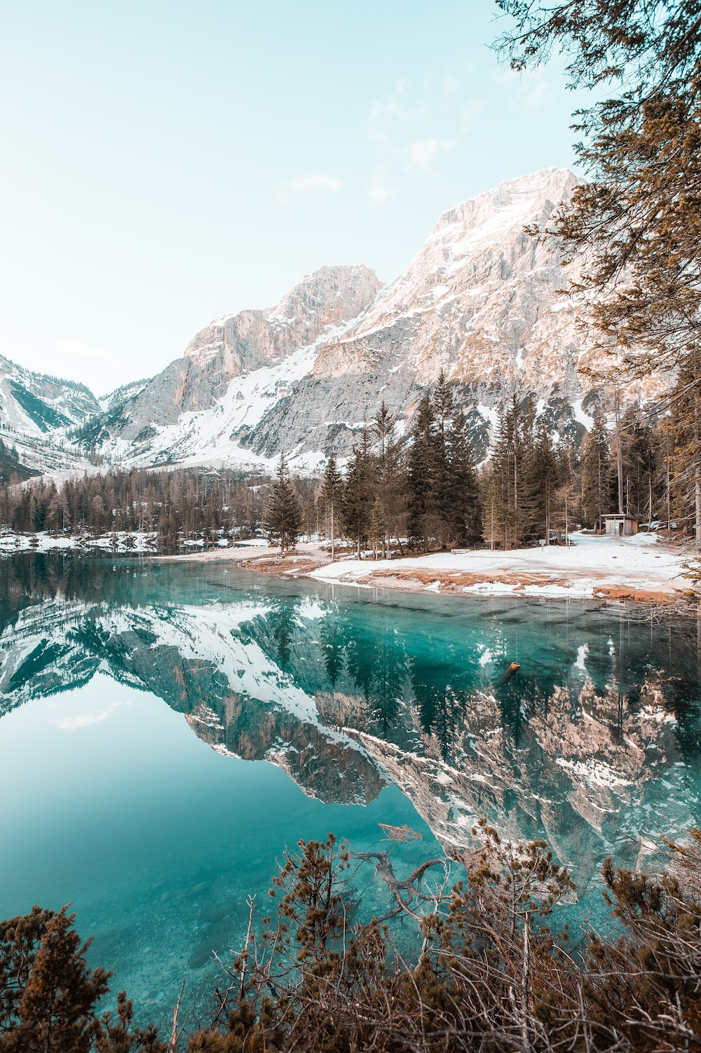 lake surrounded by trees and snow covered mountains during daytime