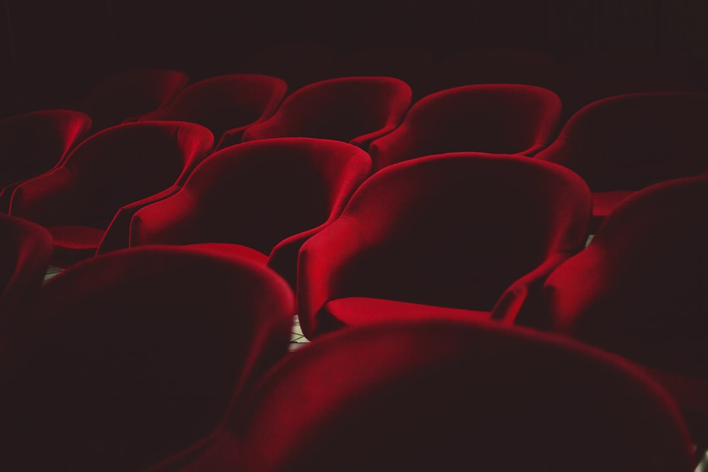 red chairs with black background