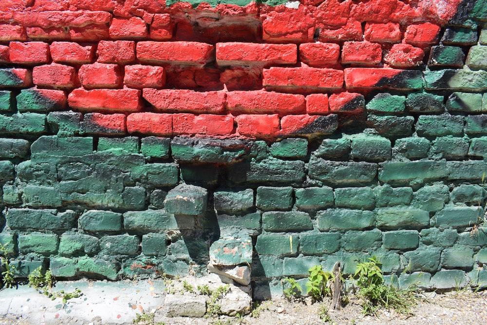 red and gray concrete bricks
