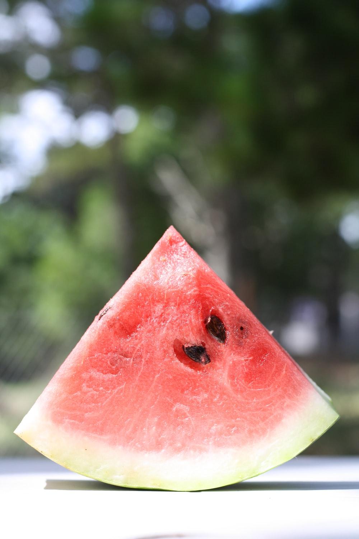 red sliced watermelon in tilt shift lens