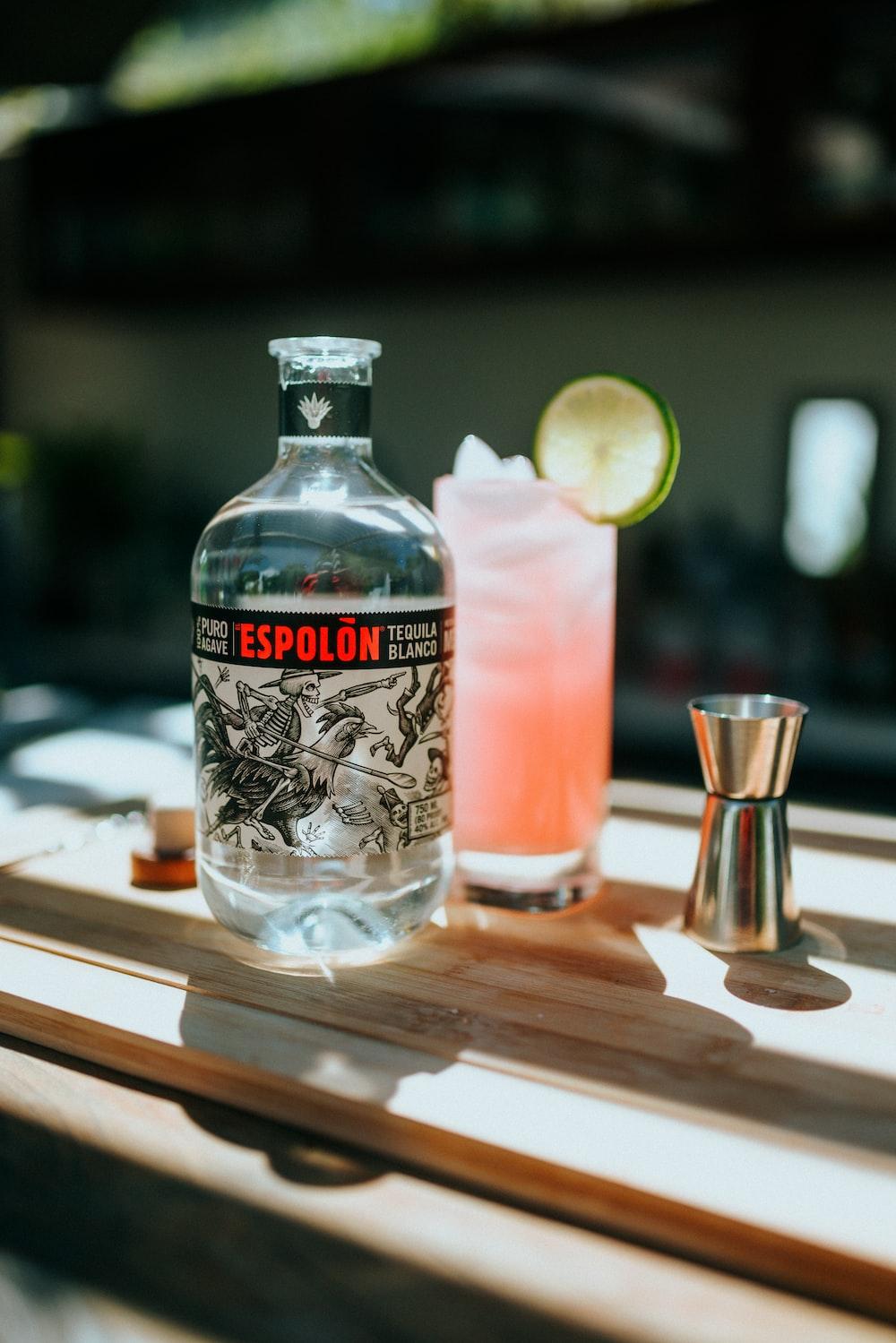 Espolòn Tequila bottle beside Paloma