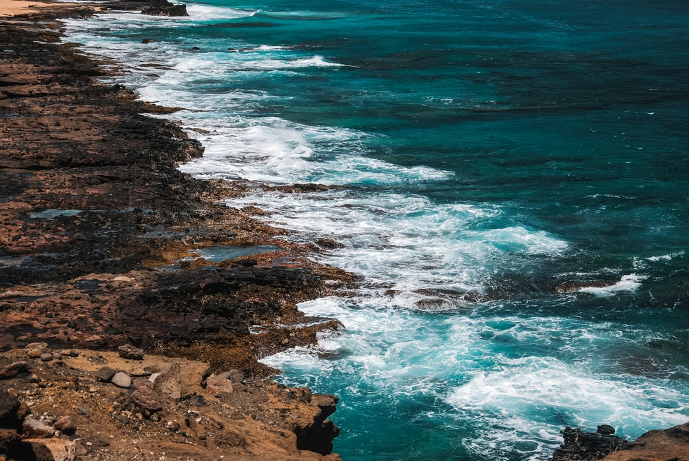 brown rocky shore with blue sea water during daytime