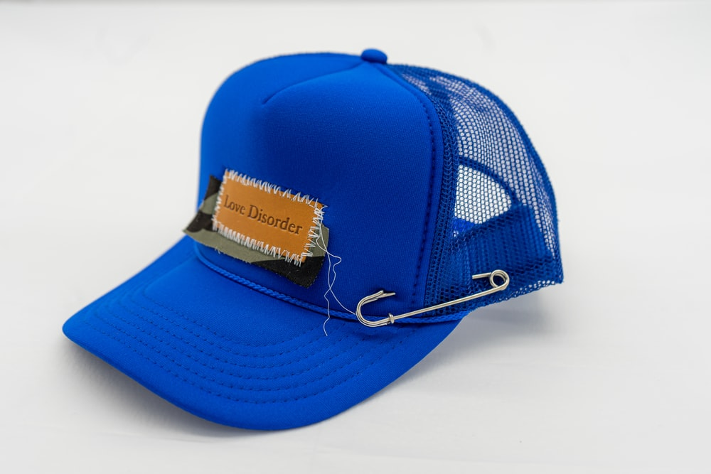 blue and white fitted cap