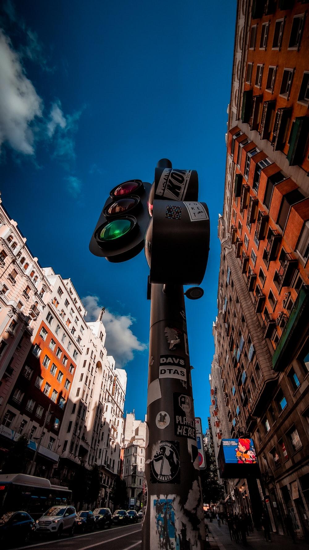 black and green street light