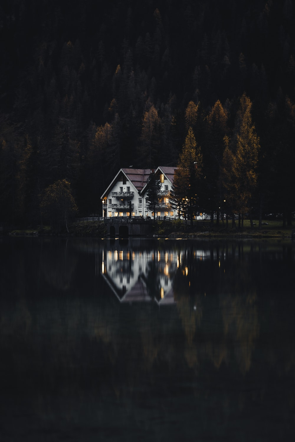 white and brown house near lake surrounded by trees