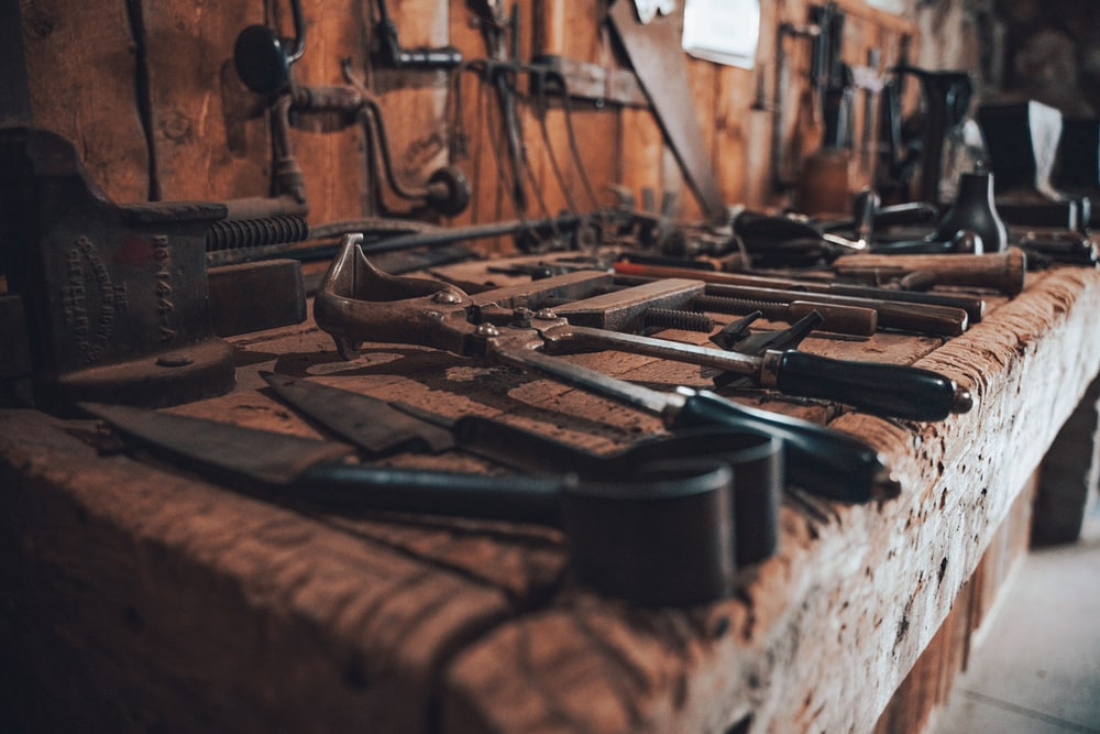 brown and black metal tool