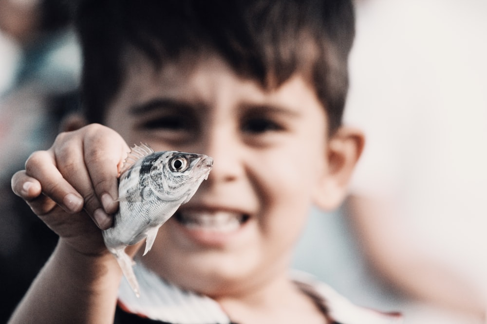 boy holding gray and black fish
