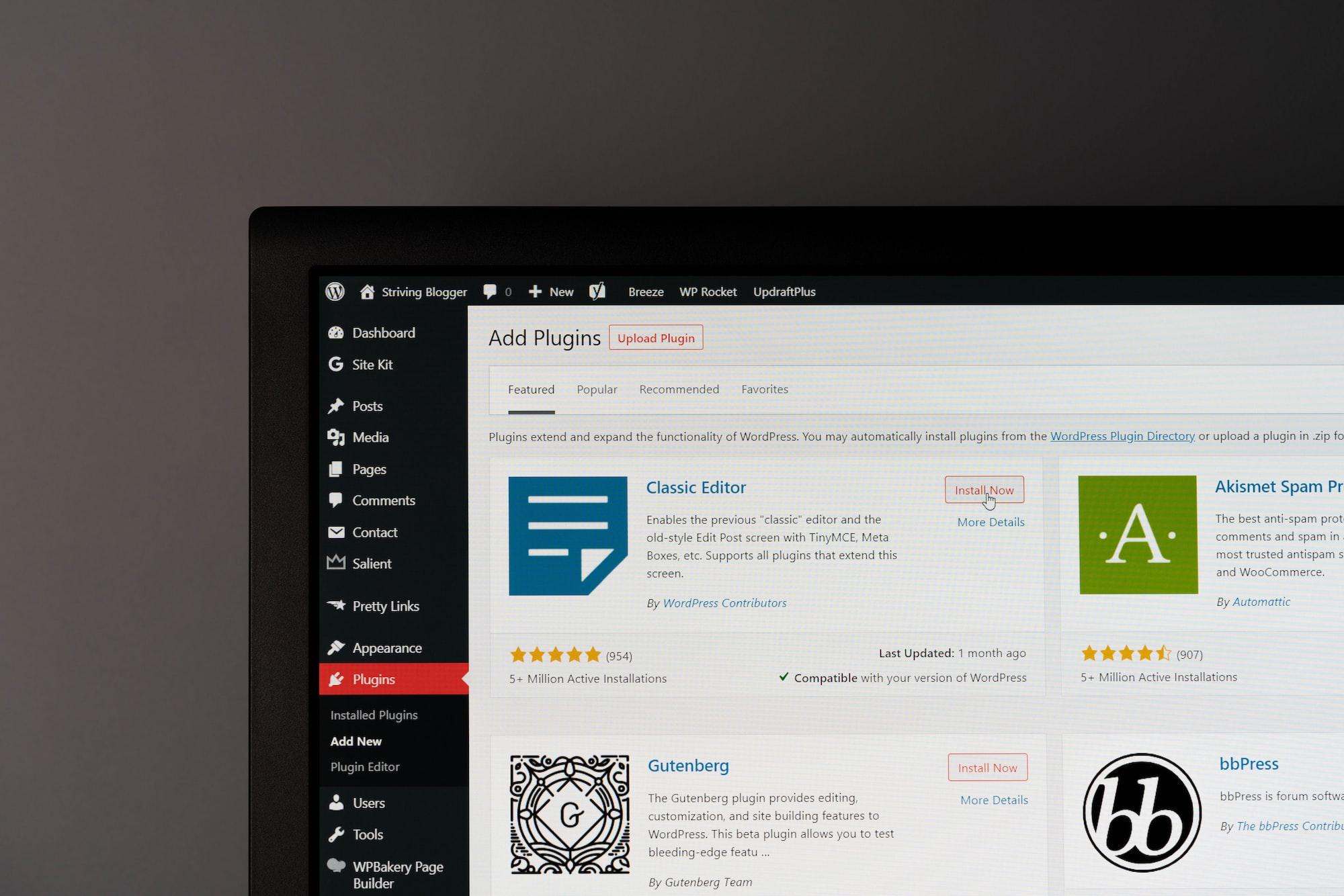 Add Plugins page on WordPress.