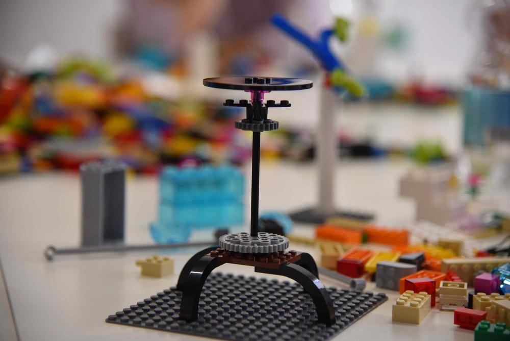 black and blue lego toy