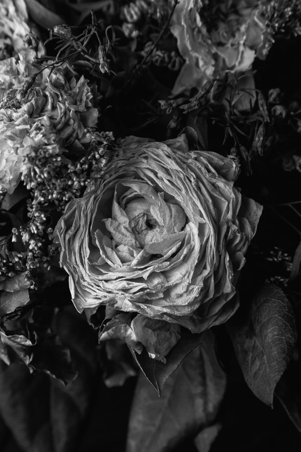 grayscale photo of a bouquet of flowers