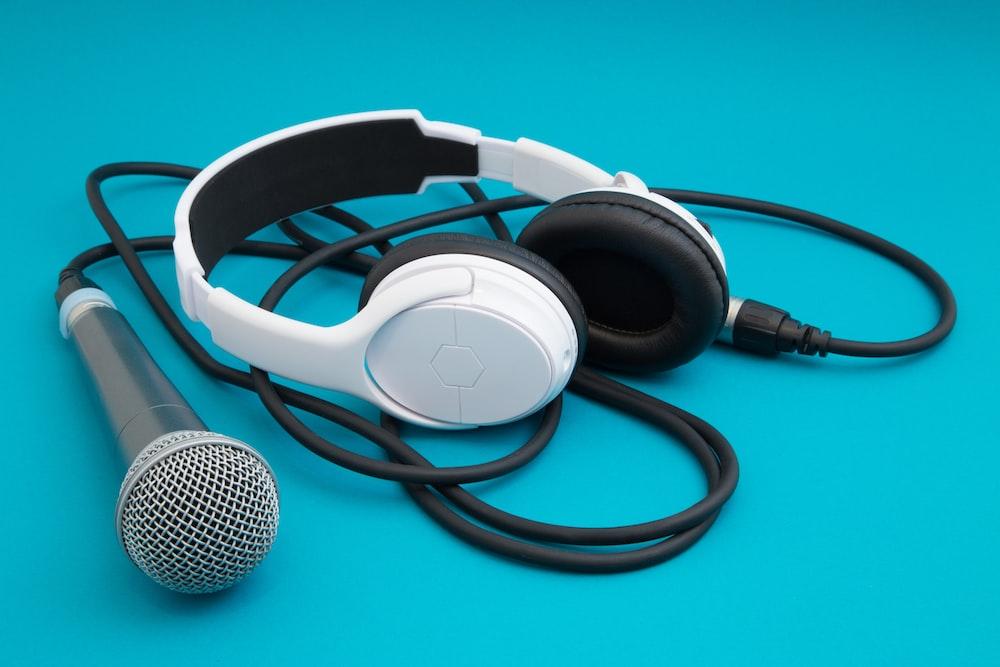white and black corded headphones