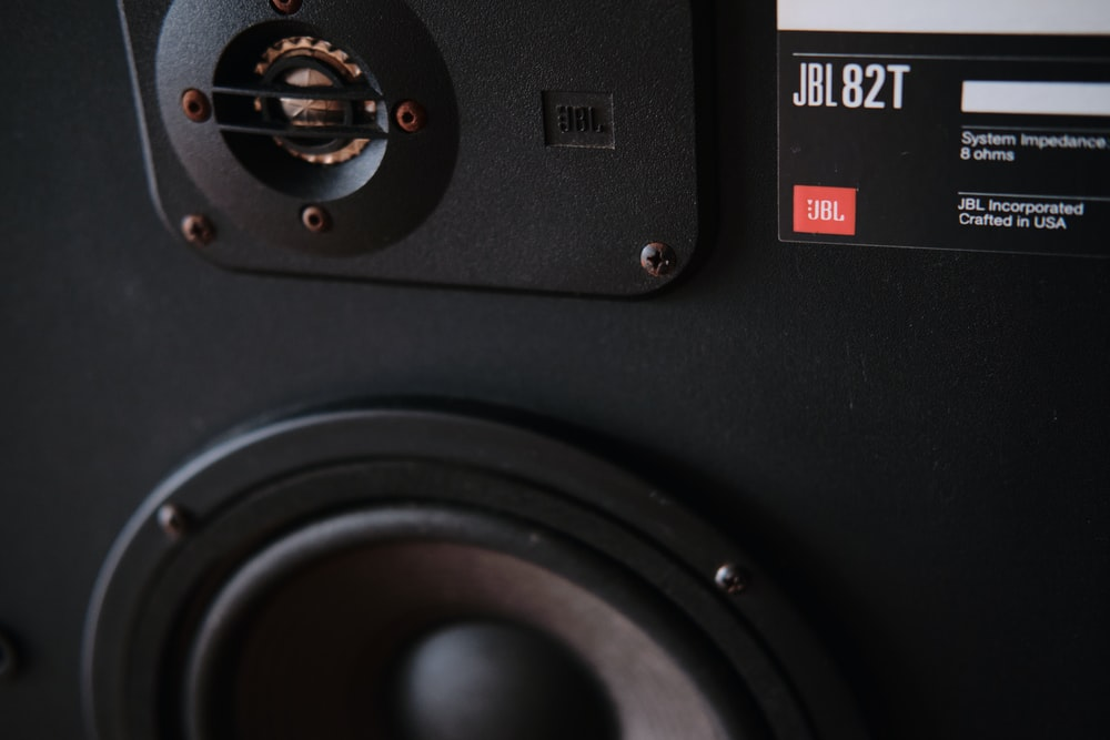 black and gray audio component