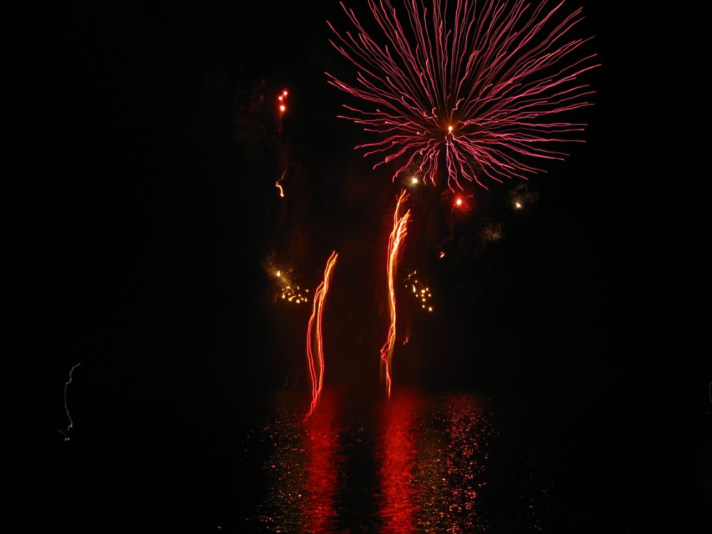 red and yellow fireworks display