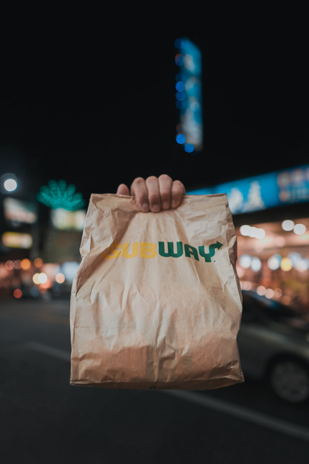 brown and green paper bag