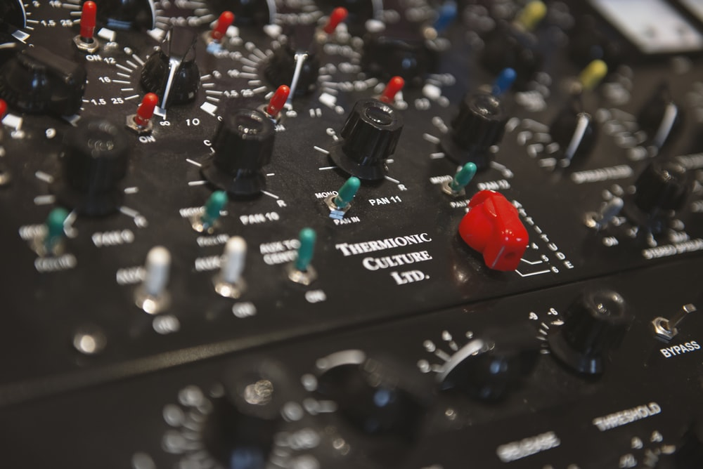 black and red audio mixer
