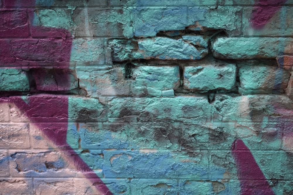 pink and gray brick wall