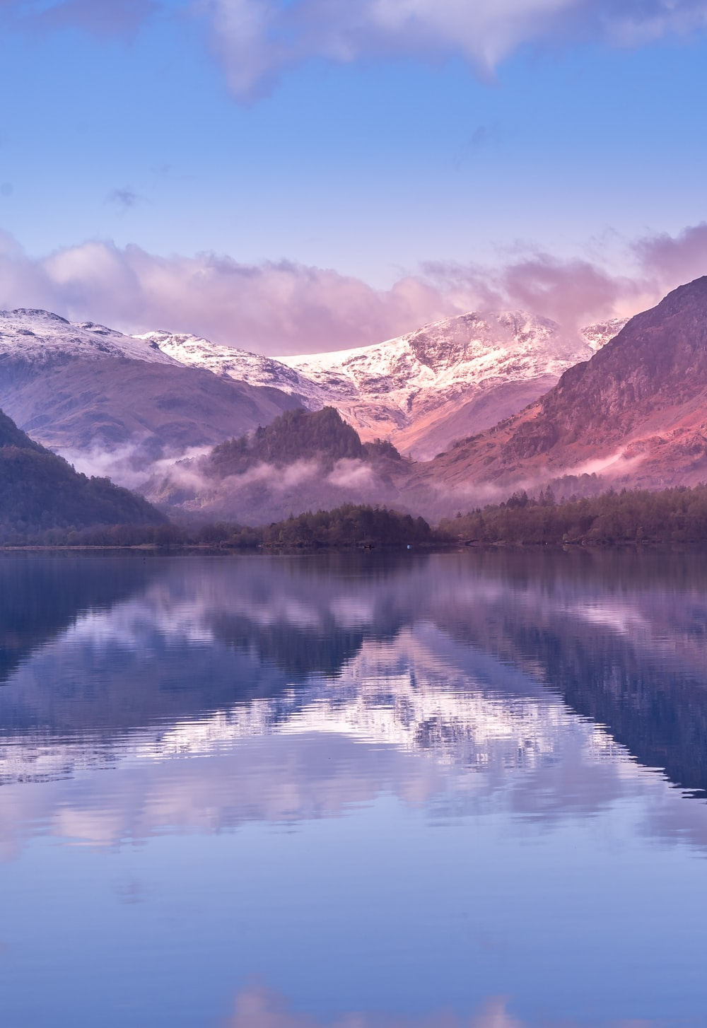 lake near snow covered mountains during daytime