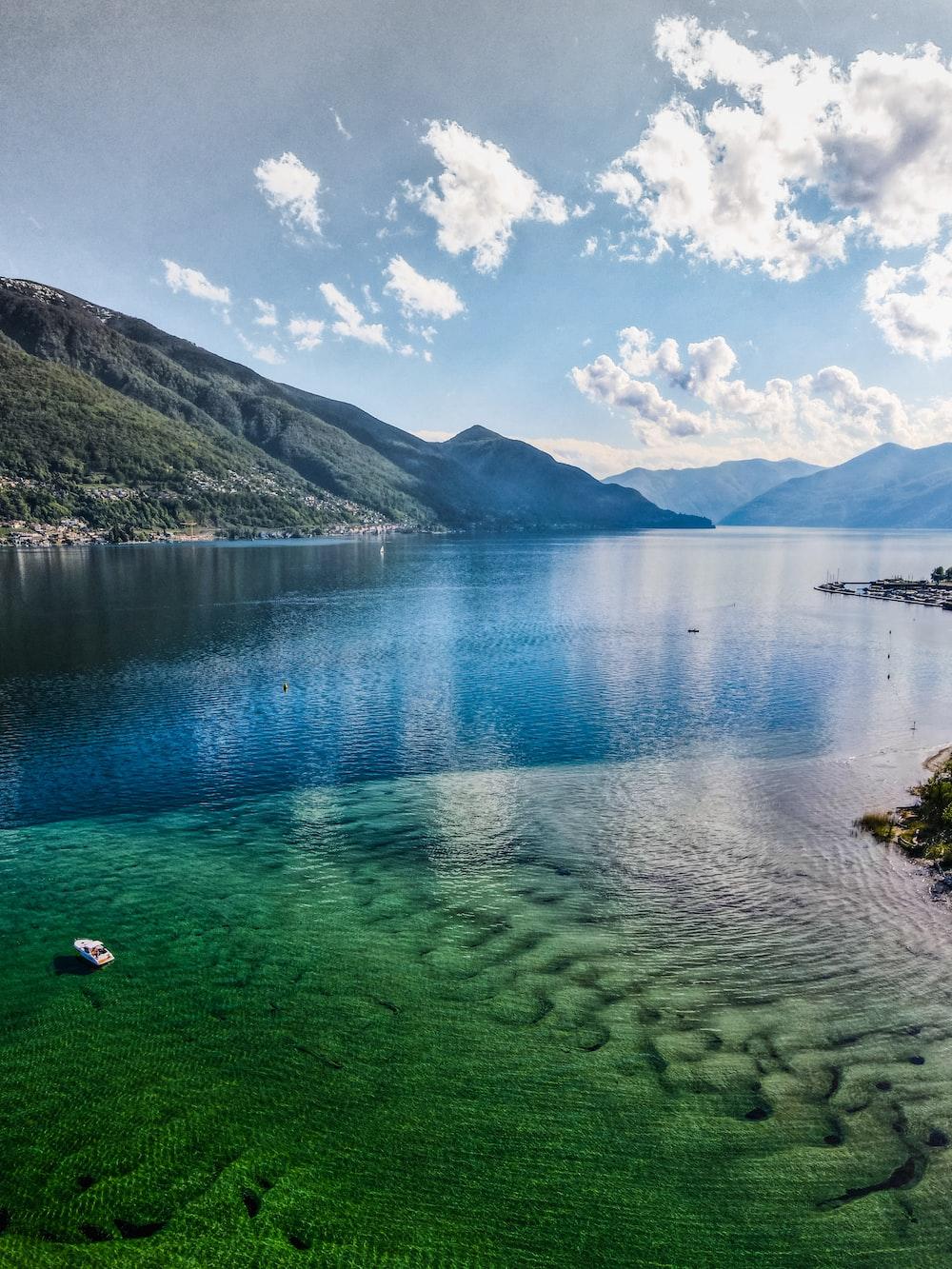 green lake near green mountain under blue sky during daytime