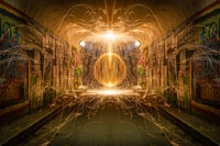 steel wool photography of tunnel