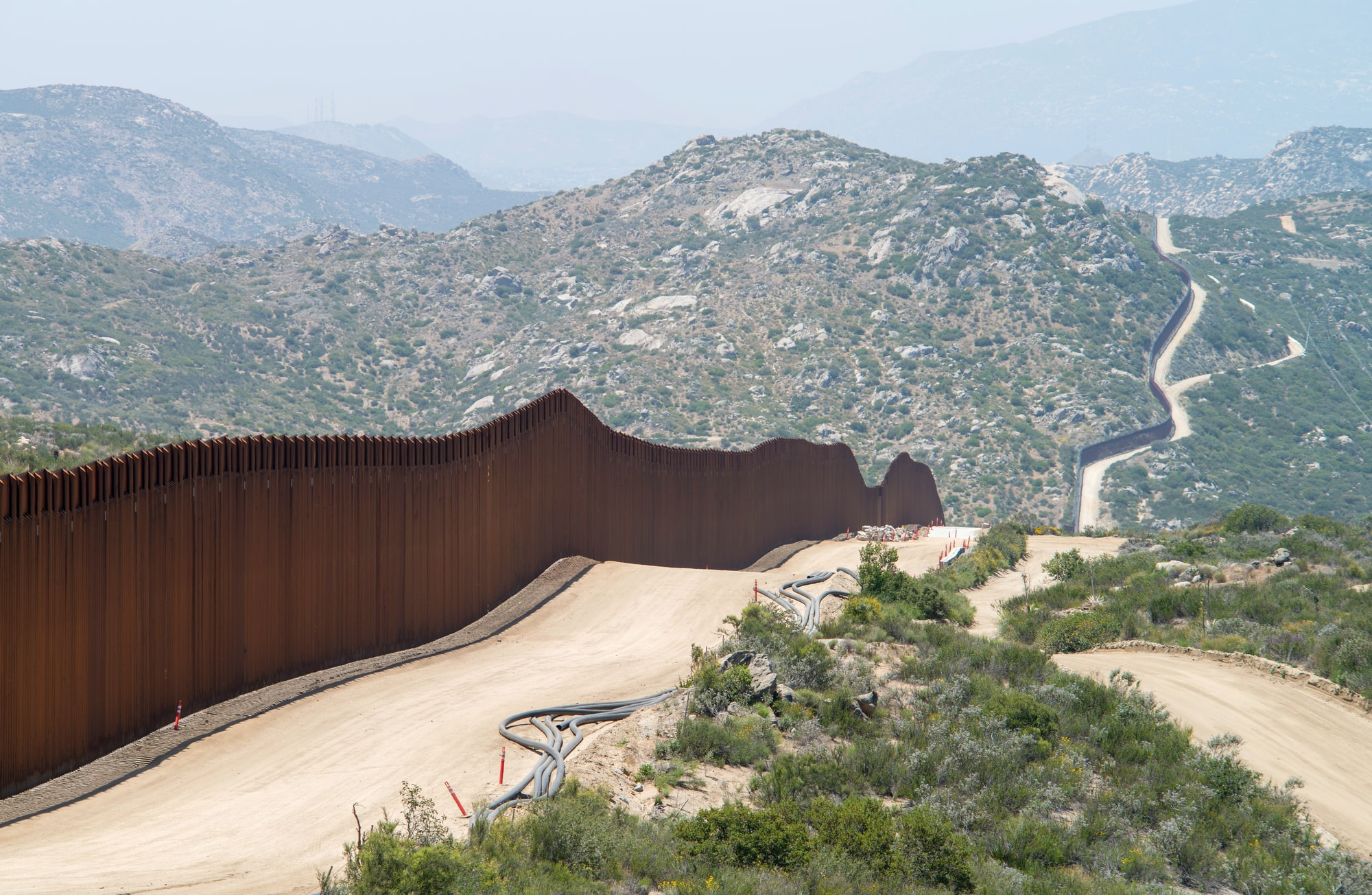 Border wall in the mountains