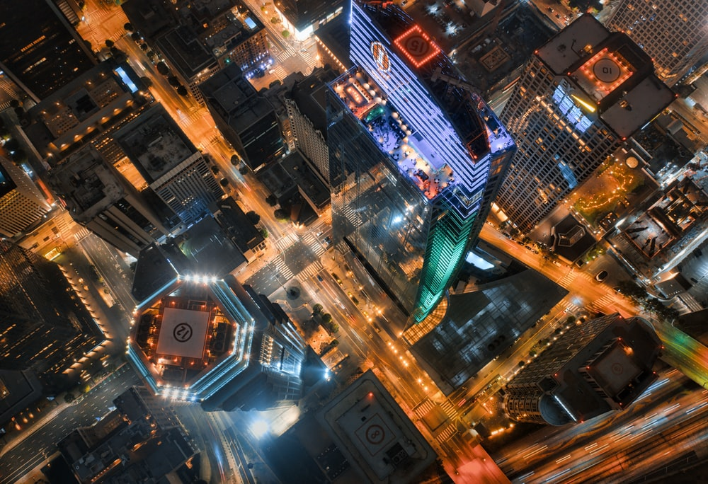 aerial view of city buildings during night time