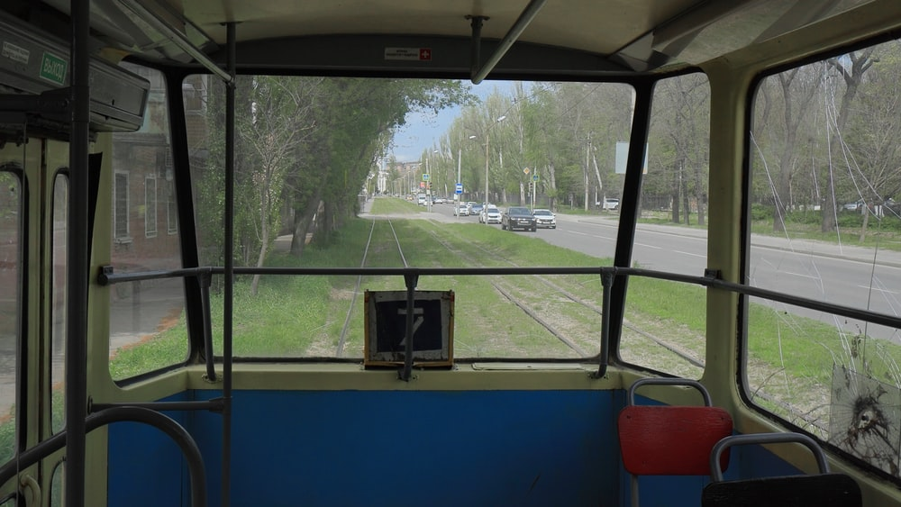 black and blue bus interior