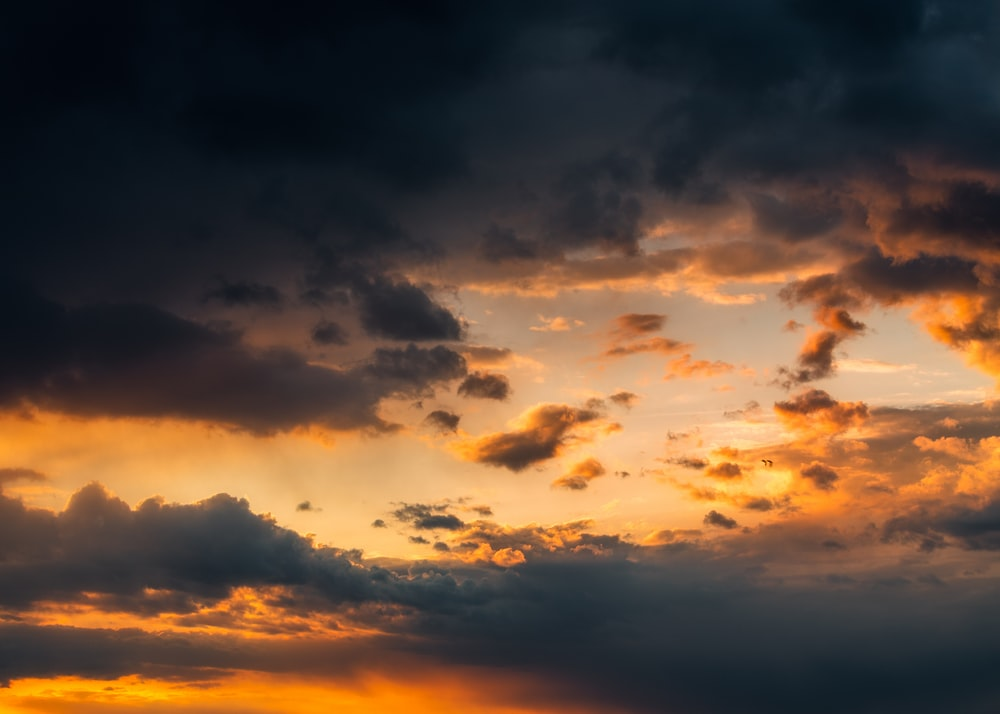 clouds and blue sky during sunset