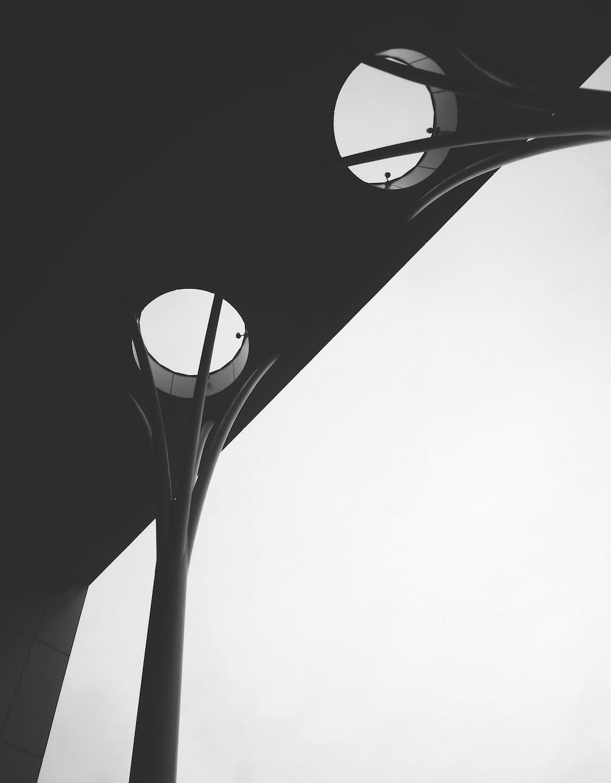 black and white round light