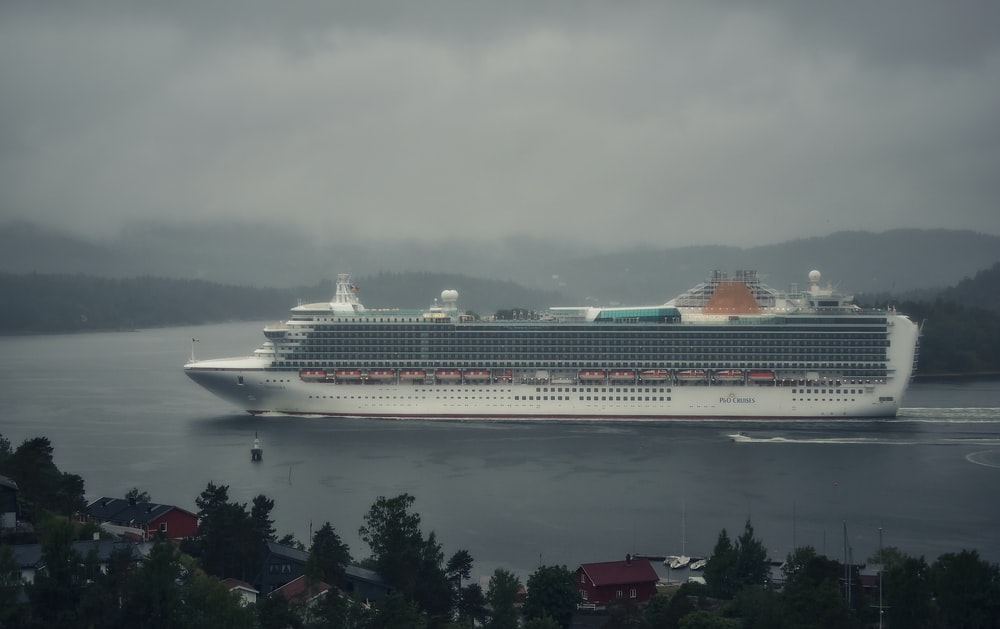 white cruise ship on sea under gray sky