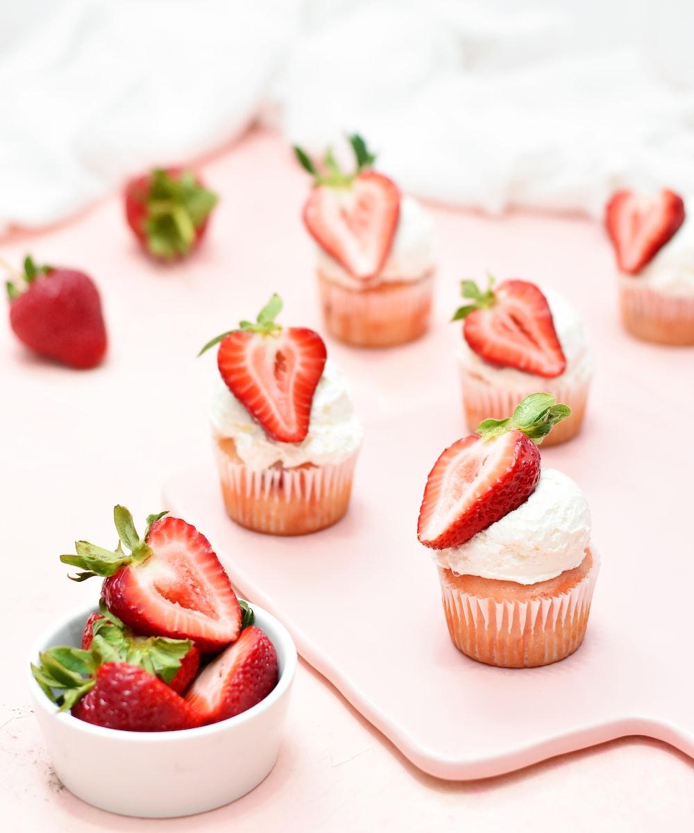 strawberry on white ceramic bowl