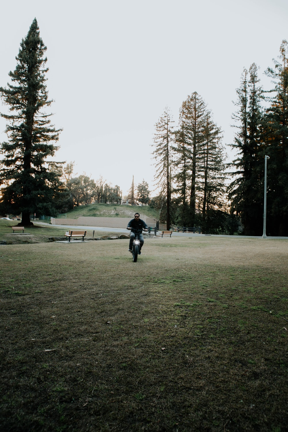 person in black jacket and black pants walking on green grass field during daytime