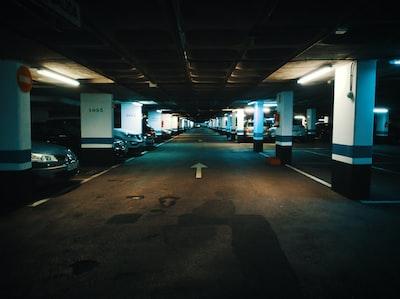 Indoor parking lot. Garage lights