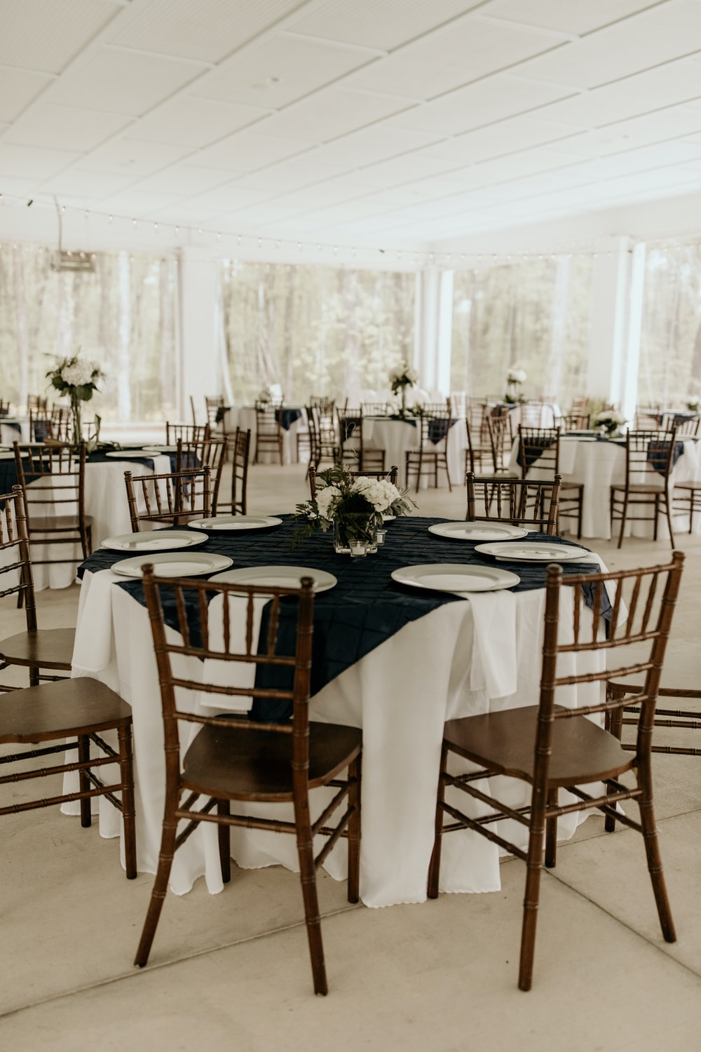 white table with chairs and table
