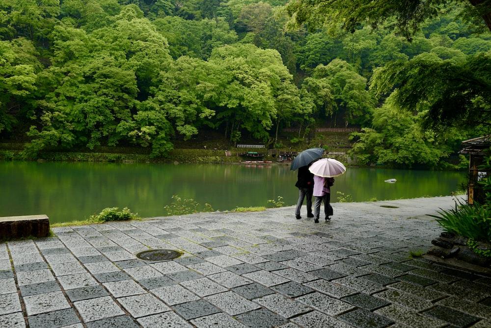 person in black jacket walking on gray brick pathway near lake during daytime