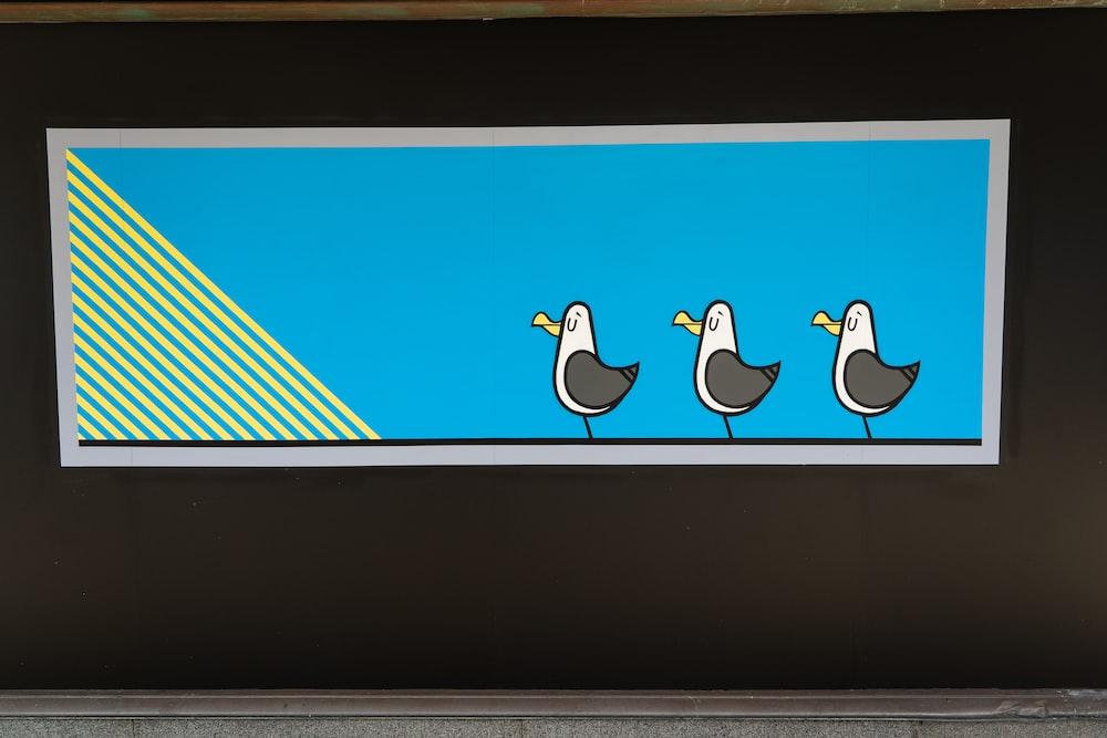 blue and white bird illustration