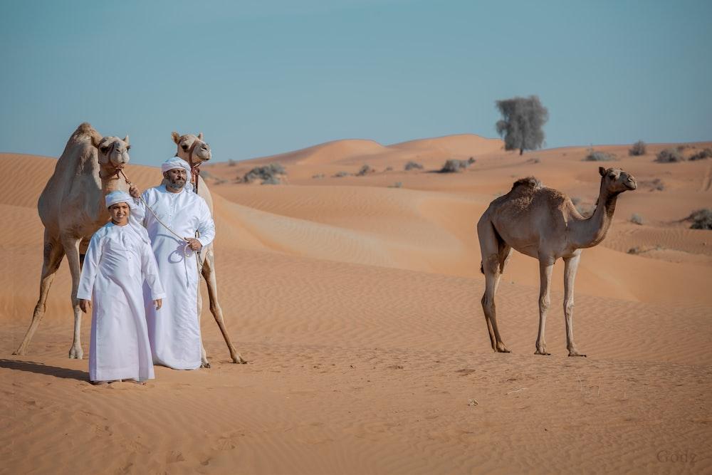 woman in white dress standing beside camel on desert during daytime