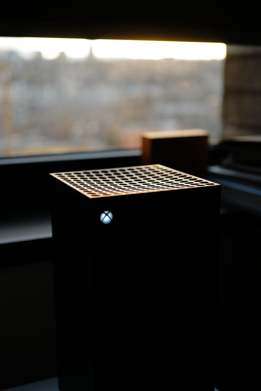 black box on white table