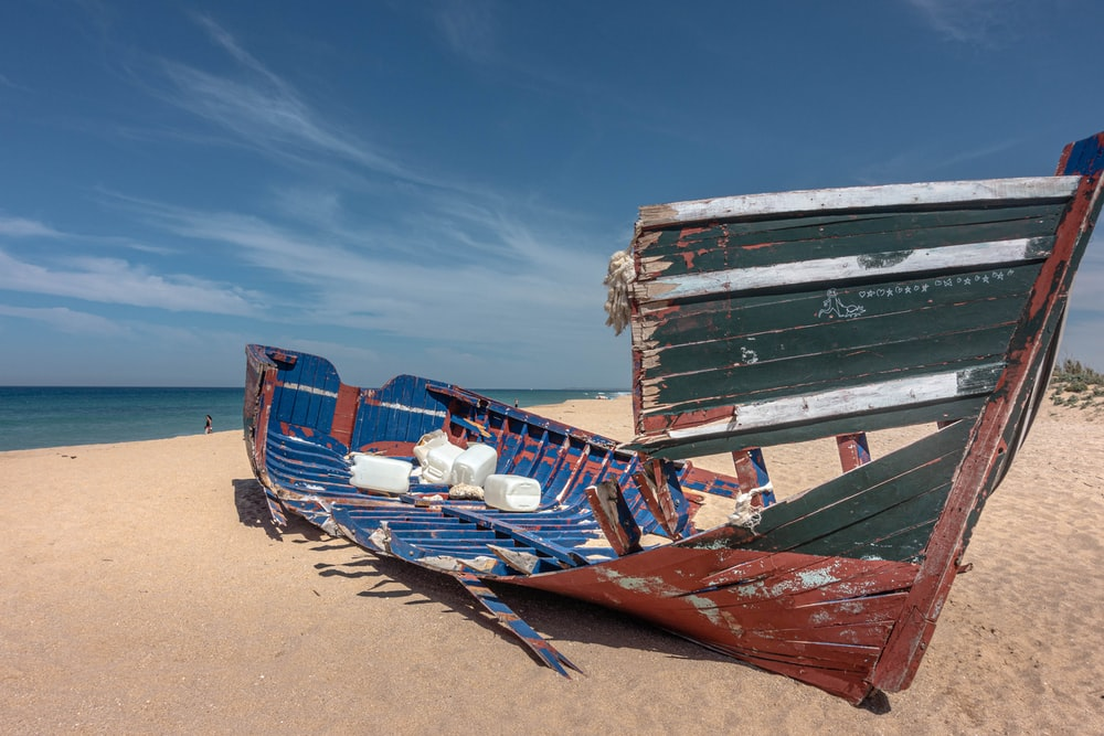 blue and red boat on beach during daytime