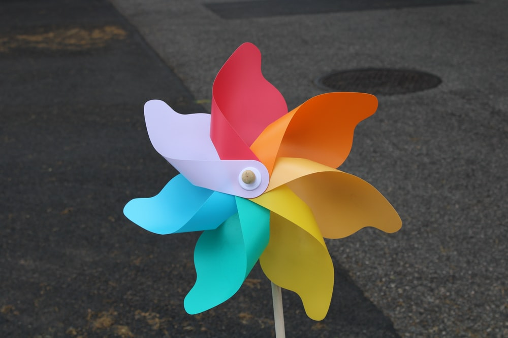 white and blue paper flower