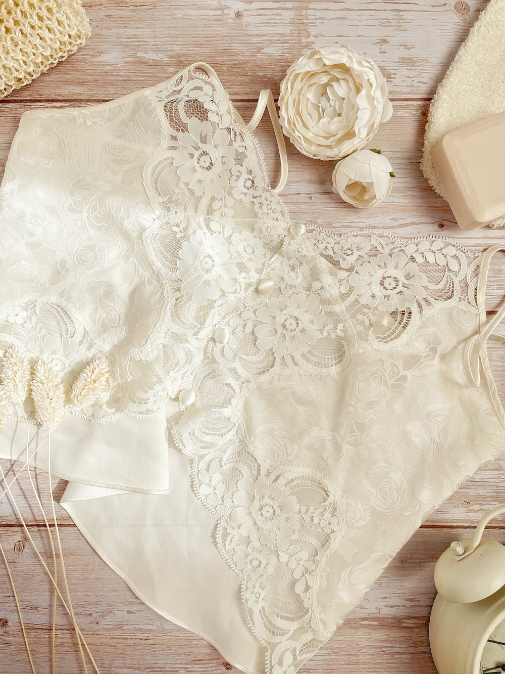 white floral table cloth on table