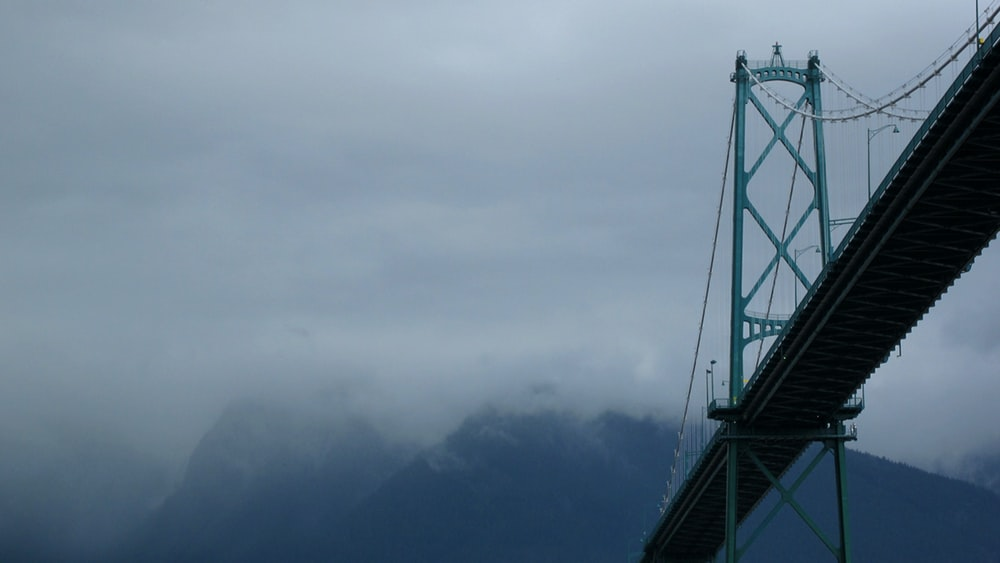 gray bridge over the clouds